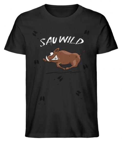 Sauwild wilde Sau | Wildschwein Keiler - Herren Premium Organic Shirt-16