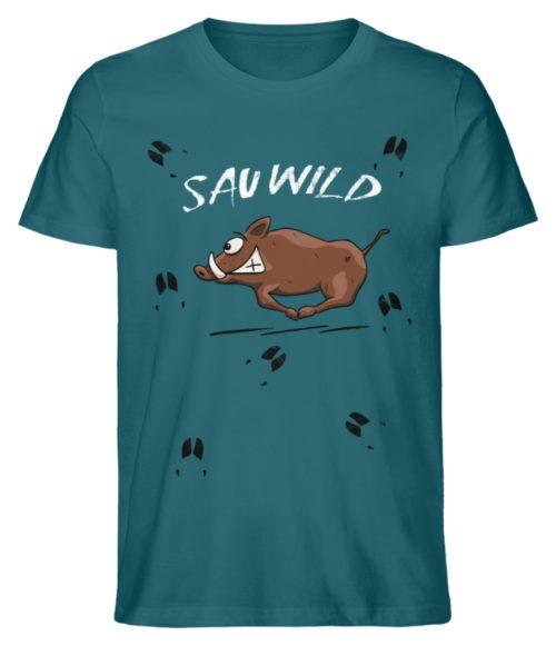 Sauwild wilde Sau | Wildschwein Keiler - Herren Premium Organic Shirt-6889