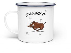 Sauwild Wildsau | witzige Wildschwein Tasse - Emaille Tasse-3