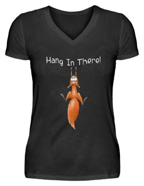 Hang In There | Lässiges Eichhörnchen - V-Neck Damenshirt-16