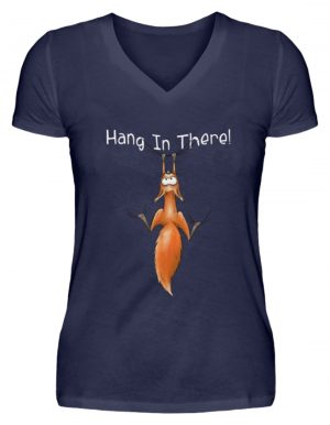 Hang In There | Lässiges Eichhörnchen - V-Neck Damenshirt-198