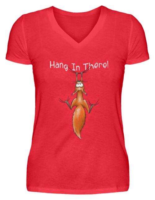 Hang In There | Lässiges Eichhörnchen - V-Neck Damenshirt-2561