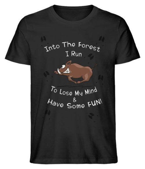 Into the Forest I Run & Have Fun Sauwild Wildsau - Herren Premium Organic Shirt-16