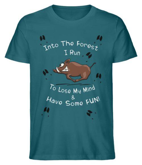 Into the Forest I Run & Have Fun Sauwild Wildsau - Herren Premium Organic Shirt-6889