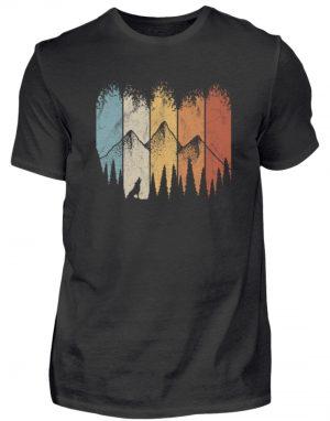 Retro Wald, Berge und Wolf - Herren Shirt-16
