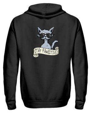 Stay Pawsitive Bleib lässig Hipster Katze - Zip-Hoodie-16