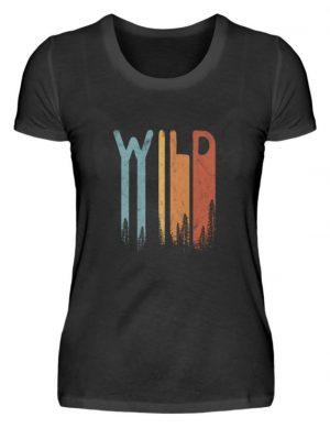 Wild Retro wilder Wald Schriftzug - Damen Premiumshirt-16