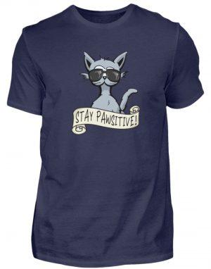 Stay Pawsitive Bleib lässig Hipster Katze - Herren Shirt-198