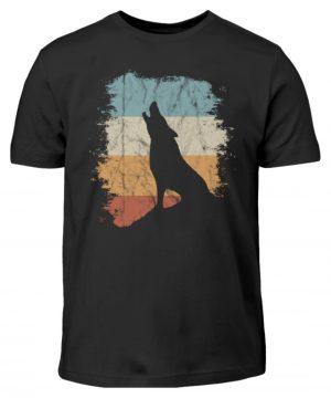 Retro Style lässig heulender Wolf - Kinder T-Shirt-16