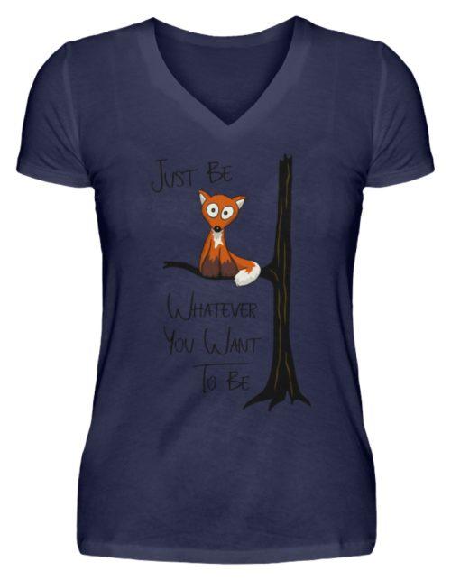 Just Be Whatever | Fuchs wie Eule - V-Neck Damenshirt-198