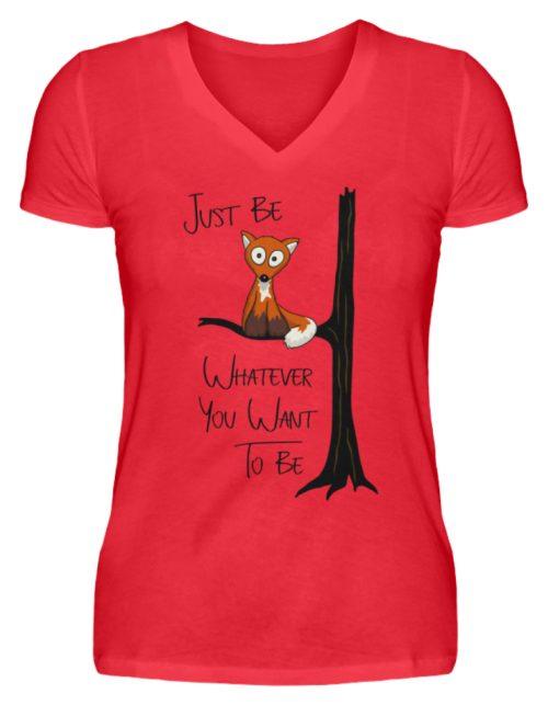 Just Be Whatever | Fuchs wie Eule - V-Neck Damenshirt-2561