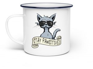 Stay Pawsitive lässige Hipster Katze - Emaille Tasse-3