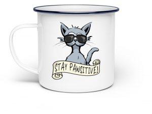 Stay Pawsitive lässige Hipster Katze - Emaille Tasse-3