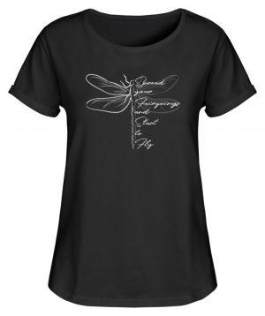 Breite die Flügel aus und flieg los | Libelle - Damen RollUp Shirt-16