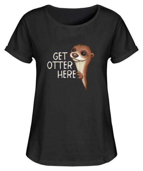 Get Otter Here | Lustiger Otter Kalauer - Damen RollUp Shirt-16