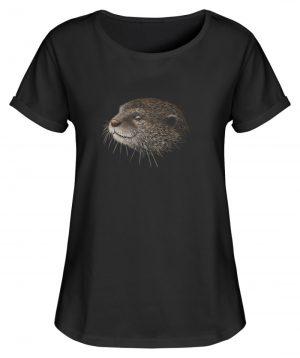 Otter Bleistift Zeichnung Kritzel-Kunst - Damen RollUp Shirt-16