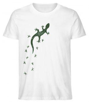 Eidechse Gecko Silhouette mit Spuren - Herren Premium Organic Shirt-3