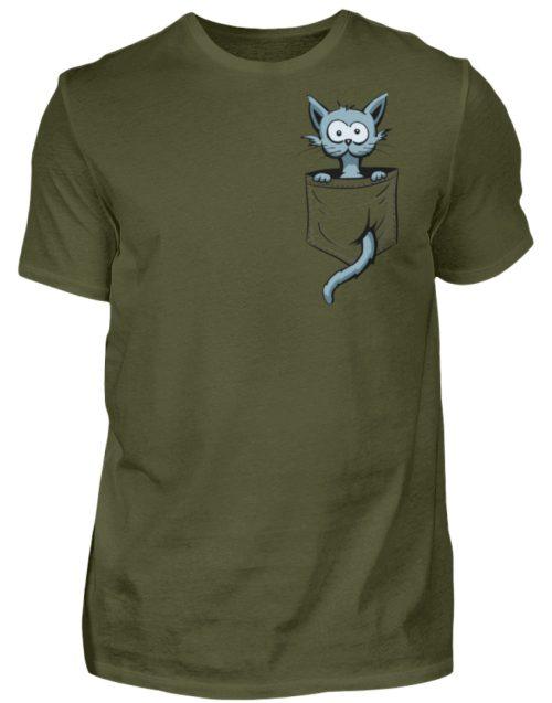 Verrückte Katze in Deiner Brust-Tasche - Herren Shirt-1109