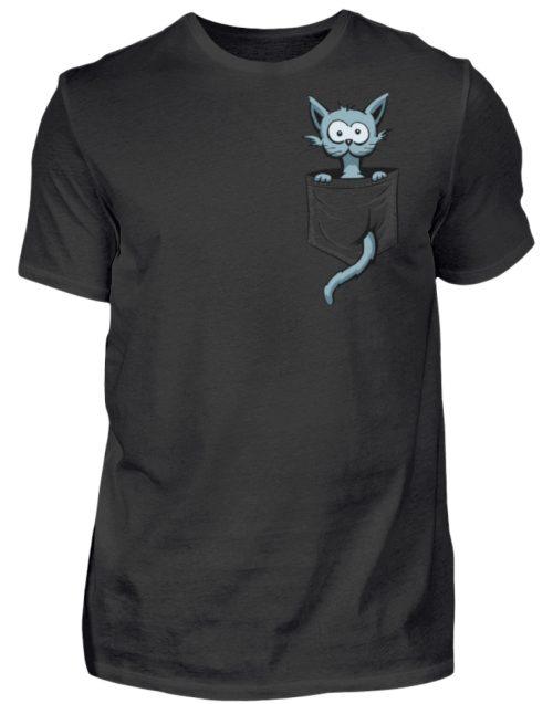 Verrückte Katze in Deiner Brust-Tasche - Herren Shirt-16