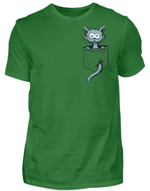 Verrückte Katze in Deiner Brust-Tasche - Herren Shirt-718