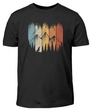 Retro Wald, Berge und Wolf - Kinder T-Shirt-16