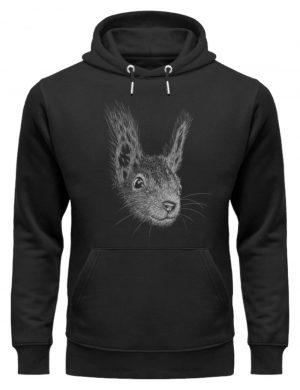 Eichhörnchen Bleistift Illustration - Unisex Organic Hoodie-16