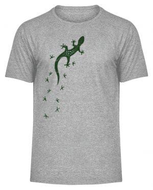 Eidechse Gecko Silhouette mit Spuren - Herren Melange Shirt-6807