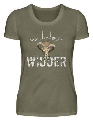 Wilder Widder | Mufflon Cooles Wild-Schaf - Damen Premiumshirt-627