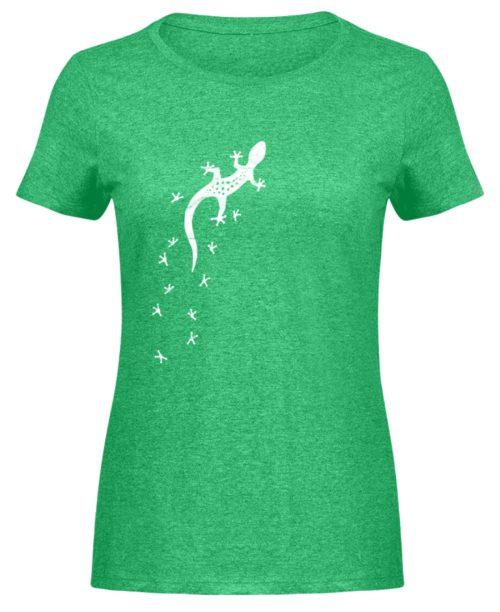 Gecko Silhouette mit Fährte | Sommer, Sonne und mediterraner Urlaub für Salamander-Fans - Damen Melange Shirt-6804
