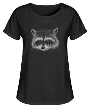 Coole freche Waschbär Illustration - Damen RollUp Shirt-16