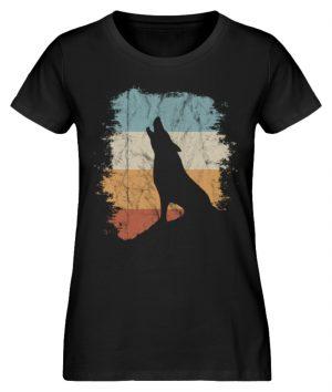 Retro Style lässig heulender Wolf - Damen Premium Organic Shirt-16