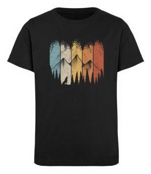 Retro Wald, Berge und Wolf - Kinder Organic T-Shirt-16