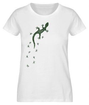 Eidechse Gecko Silhouette mit Spuren - Damen Premium Organic Shirt-3