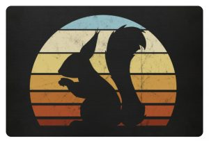 Retro Eichhörnchen Silhouette Squirrel - Fußmatte-16