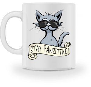 Stay Pawsitive lässige Hipster Katze - Tasse-3