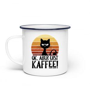 Ok, aber erst Kaffee | grummelige Katze - Emaille Tasse-3
