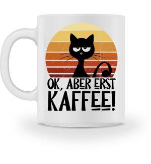 Ok, aber erst Kaffee | grummelige Katze - Tasse-3