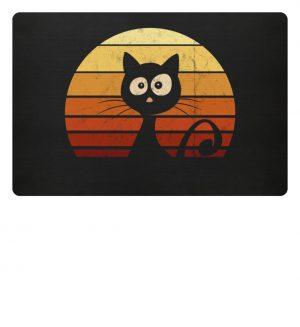 Schwarze Katze vor Retro Sonnenuntergang - Fußmatte-16