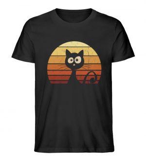 Schwarze Katze vor Retro Sonnenuntergang - Herren Premium Organic Shirt-16