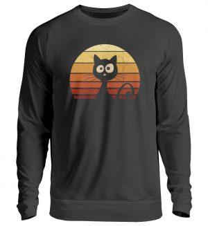 Schwarze Katze vor Retro Sonnenuntergang - Unisex Pullover-1624