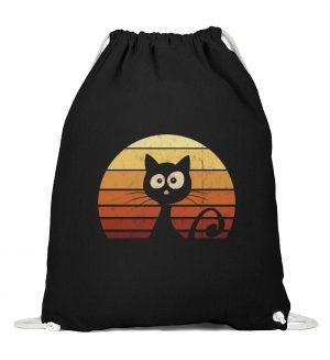 Schwarze Katze vor Retro Sonnenuntergang - Baumwoll Gymsac-16