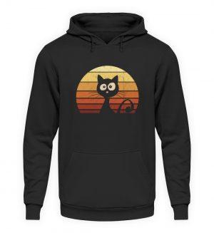 Schwarze Katze vor Retro Sonnenuntergang - Unisex Kapuzenpullover Hoodie-1624