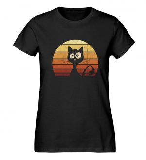 Schwarze Katze vor Retro Sonnenuntergang - Damen Premium Organic Shirt-16