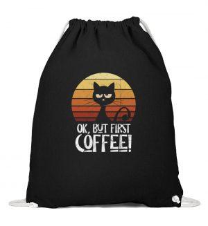 Ok But First Coffee | Launische Retro Katze - Baumwoll Gymsac-16