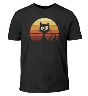 Schwarze Katze vor Retro Sonnenuntergang - Kinder T-Shirt-16