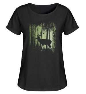 Hirsch im Zwielicht Wald - Damen RollUp Shirt-16