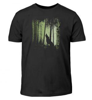 Einsamer Wolf im Zwielicht Wald - Kinder T-Shirt-16