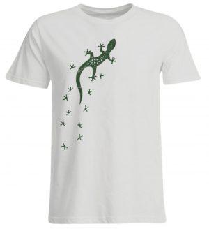 Eidechse Gecko Silhouette mit Spuren - Übergrößenshirt-1053