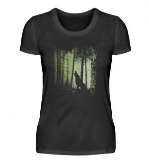 Einsamer Wolf im Zwielicht Wald - Damen Premiumshirt-16