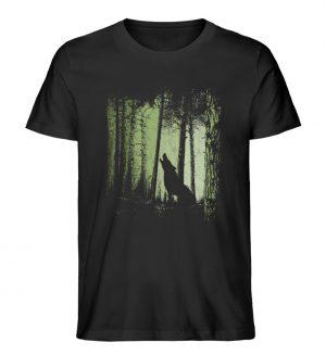 Einsamer Wolf im Zwielicht Wald - Herren Premium Organic Shirt-16
